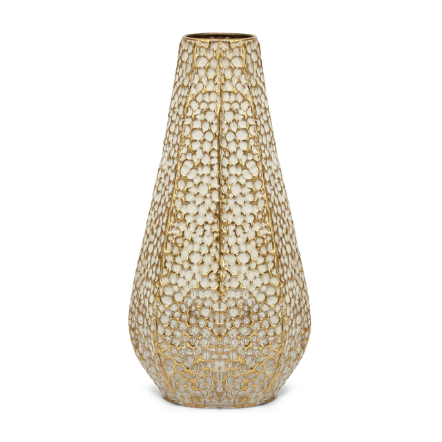 Metal, Large Chic Antiqued Vase, White & Gold