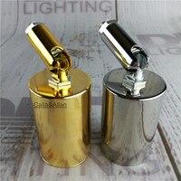 Altın/krom renk E27 demir kapak plastik soket duvar lamba armatür ile baz AC110V/2220 V Edison ampul lamba tutucu ile köşe kol