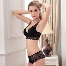 Hot Noble Sexy Women Underwear Bra Buckle Deep V Neck Push Up Side Gathering Bra Set