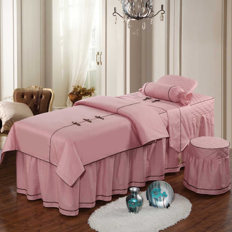 13372 Pure Cotton Beauty Salon Duvet Cover Bed Skirt Bedding Set Spa Customized 4pcs Pink Ruby Purple Grey