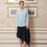 VOA 2018 осень Небесно Голубой Простой Милая Рубашка слим Офисные женские туфли классические базовые Макарон шелковая блузка краткое сплошной