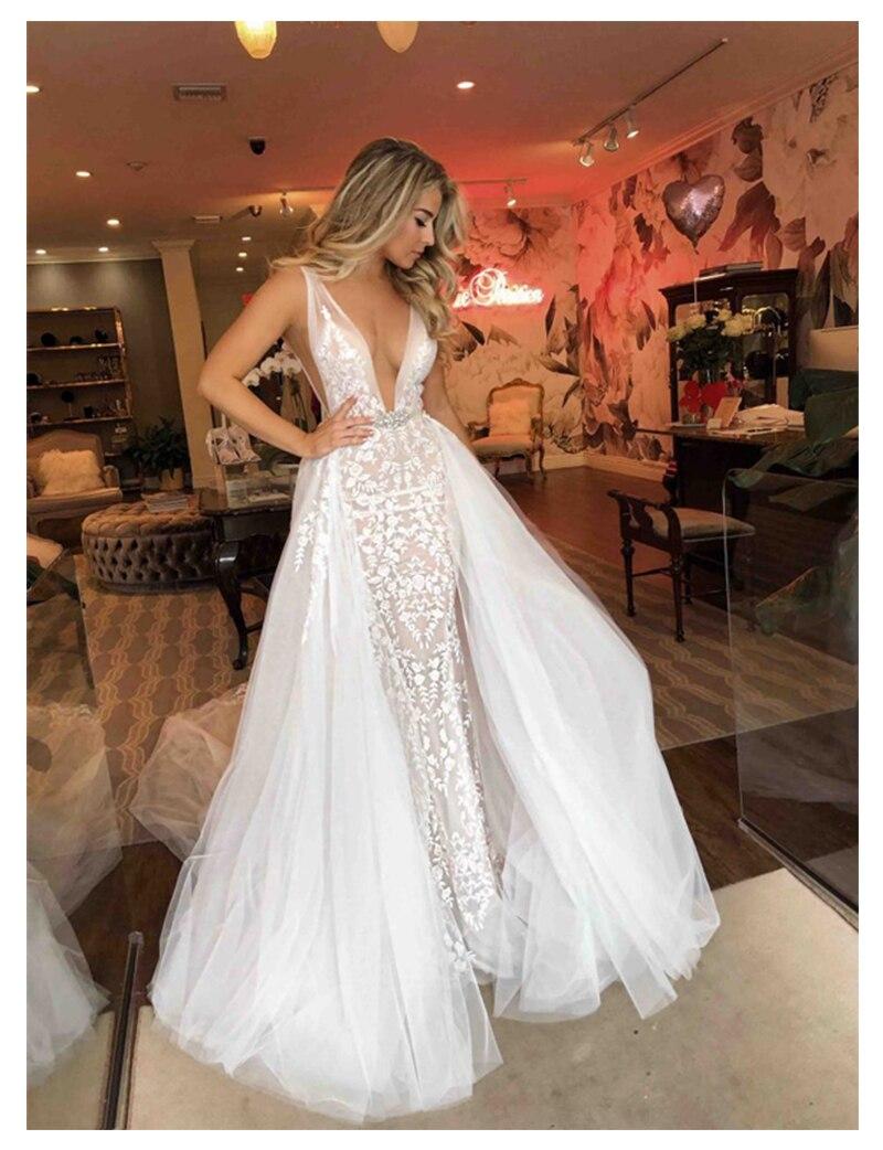 LORIE Sexy Wedding Dress 2019 Long Train Robe De Soiree Sweet Dream Bridal Dress Deep V Neck High Quality Wedding Gowns
