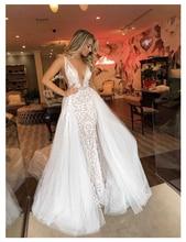 LORIE Sexy Wedding Dress 2019 Long Train Robe de soiree Sweet Dream Bridal Deep V Neck High Quality Gowns