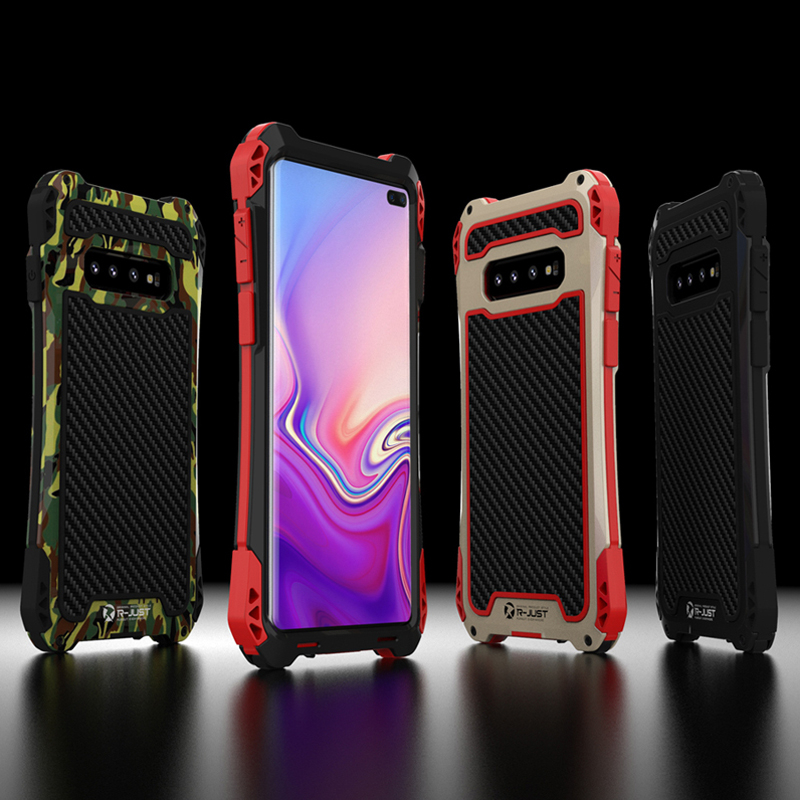 Carbon Fiber Metal Case For Samsung Galaxy S10 S8 S9 Plus Note 9 8 Shockproof Hard Armor For Samsung Note 8 Case Note9 Note8