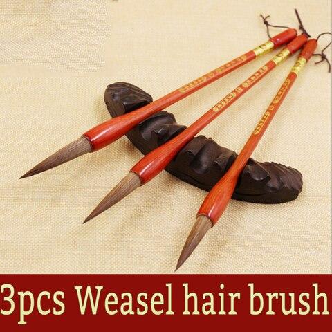 3 pcs chines caligrafia doninha escova de cabelo caligrafia pinceis para pintura do artista arte