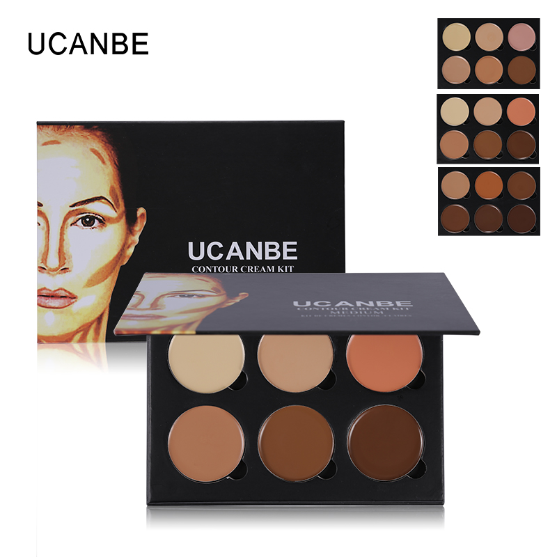 6 رنگ UCANBE Light to Medium Highlight & Contour Kit، Palette Corctive Concealer Face Cream، Contouring 3D کرم کانسیلر صورت آرایشی