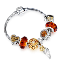 Cremo Feather Charm Bracelet Gold Color Heart Silver Color Orange Crystal Hollow Ball Zircon Micro Paved Changeable Bead Jewelry