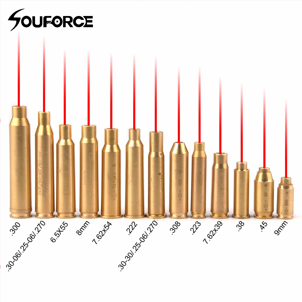New Red Dot Laser Brass Boresight CAL Cartridge Bore Sighter For Scope Hunting