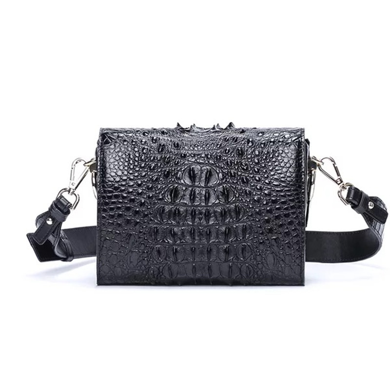 купить Fancy 100% Genuine Crocodile Skin Woman Small Purse Lady Box Bag Alligator Leather Female Messenger Bag with Wide Shoulder Strap по цене 21473.02 рублей