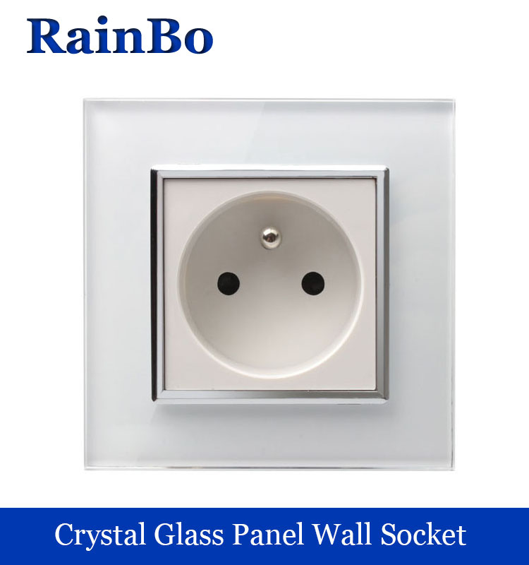 rainbo brand Free Shipping Wall Power Socket New Outlet France Standard  Crystal Glass Panel AC110~250V 16A Wall Socket A18FW/B dixinge high quality brand german standard socket wall socket tv outlet silvery were pc material panel b120 l134