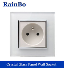 rainbo brand Free Shipping Wall Power Socket New Outlet France Standard  Crystal Glass Panel AC110~250V 16A Wall Socket A18FW/B