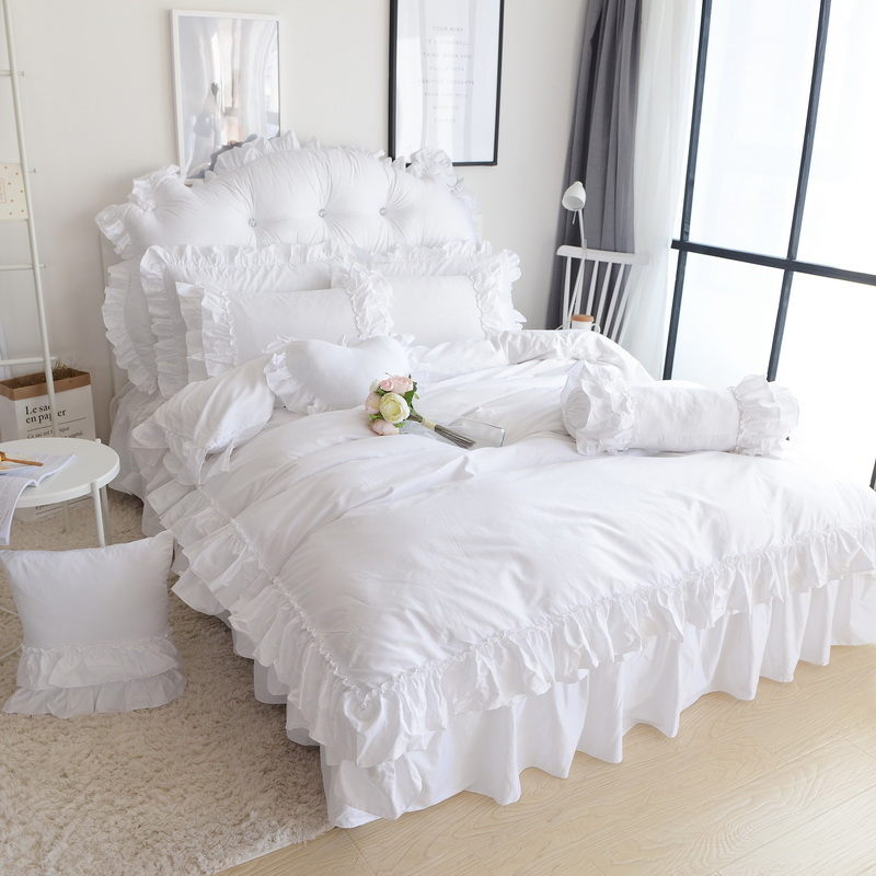 Solid Color Home Textile Princess Bedding Set 4pcs Snow White Quilt Cover King Queen Ruffles Bedclothes Bed Skirt Cotton