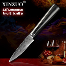 XINZUO NEW HOT 3.5″ fruit knife Japanese VG10 Damascus steel kitchen knives/paring knife with forged Micarta handle FREESHIPPING