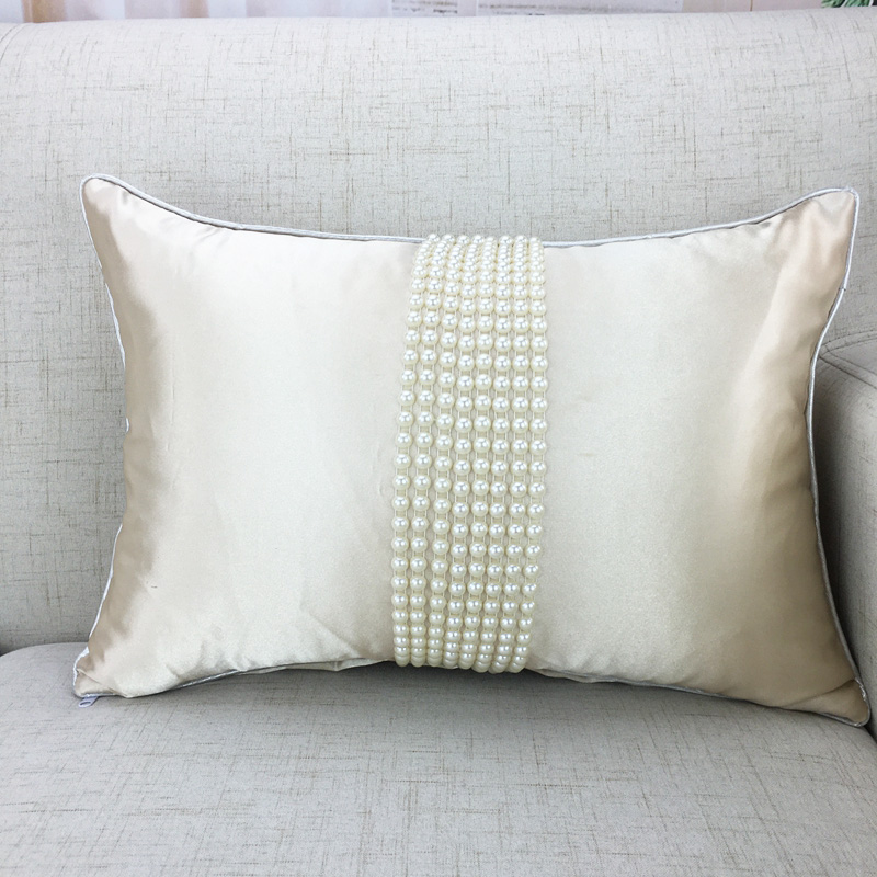 Fashion korean cushions luxury pearl white cushion bolster throw pillow yarn ruffle wedding decoration bebroom textile sale-in Cushion from Home & Garden on ...
