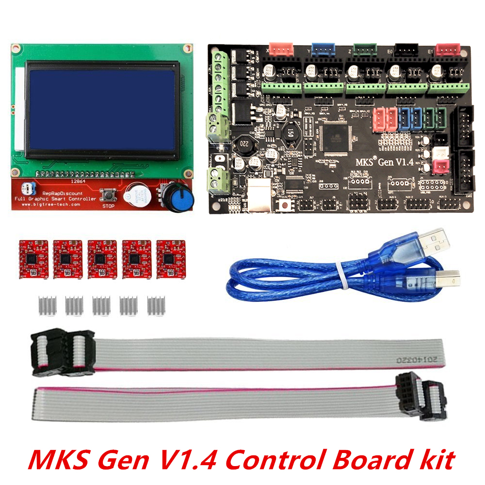 3D printer kit MKS Gen V1.4 with MKS Gen V1.4 RepRap board + 5PCS A4988 Driver + 12864 Graphic LCD flsun 3d printer big pulley kossel 3d printer with one roll filament sd card fast shipping