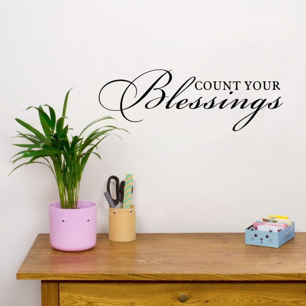 US $2.63 12% OFF|Count Your Blessings Quotes Vinyl Wall Art Decals Wall  Stickers for Livingroom Bedroom Decoration-in Wall Stickers from Home &  Garden ...