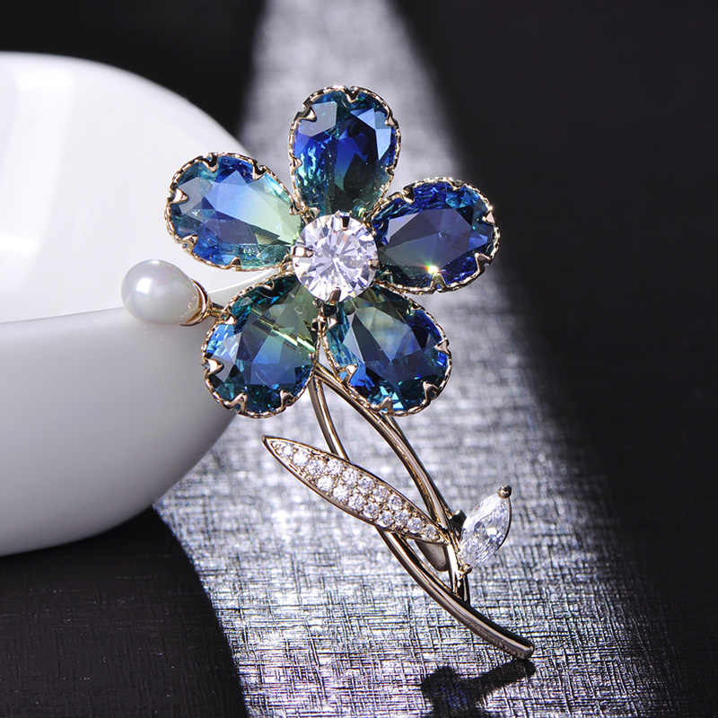e873dc13f Madrry Luxury Blue Flower Shape Brooches Shining Rhinestone Jewelry Pin For  Women Girls Suit Coat Dress