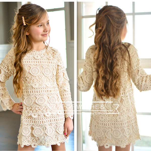 Baby Girls Crochet Lace Dresses 2017 Kids Girls Princess Hallow Out Dress Girl Autumn Winter Christmas Clothing babies clothes