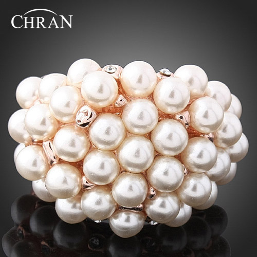 CHRAN Elegant Gold Color Vintage Crystal Rings Jewelry Gifts Wholesale Fashion Imitation Pearl Engagement Women Wedding Rings