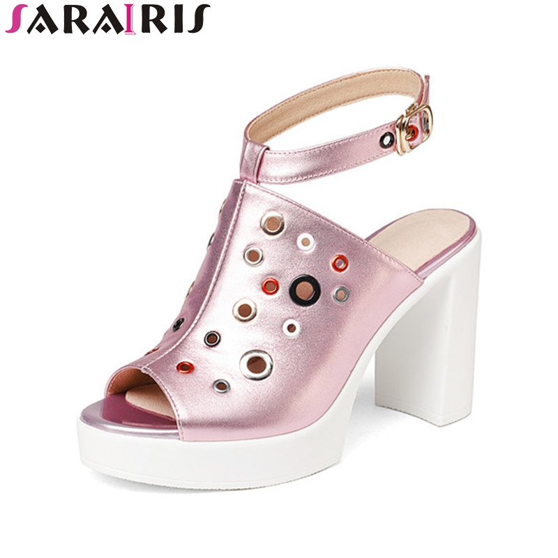 SaraIris Summer Genuine Leather Fashion Colorful Platform Ankle Strap Mules Super High Square Heel Women Shoes Size 34-39 цена и фото