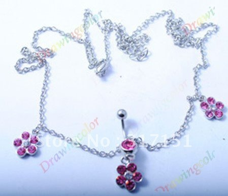 Wholesale - hot sale body jewelry pink chatelaine piercing navel rings 10pcs/lot -free shipping