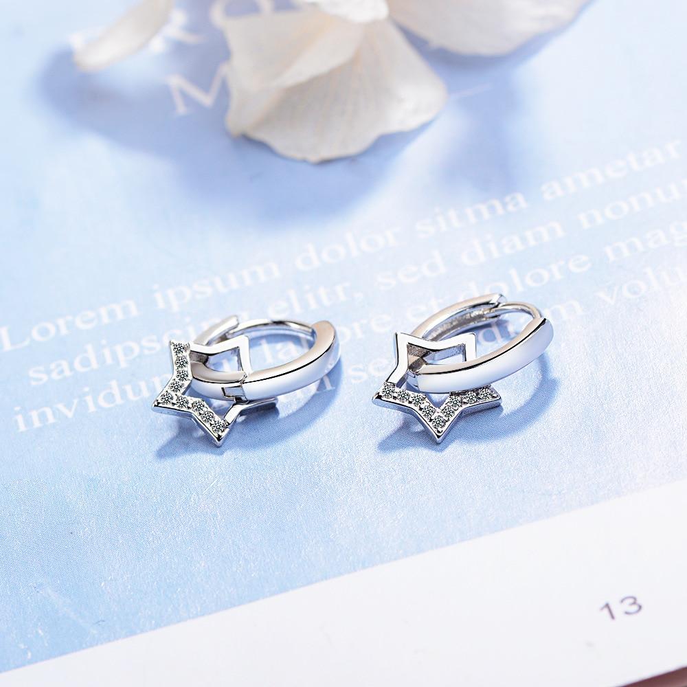 XIYENIKE 925 Sterling Silver  Zircon Star Jewelry Round Shape Cute Trendy Style Earrings For Women Girlfriend  Wedding Banquet 2