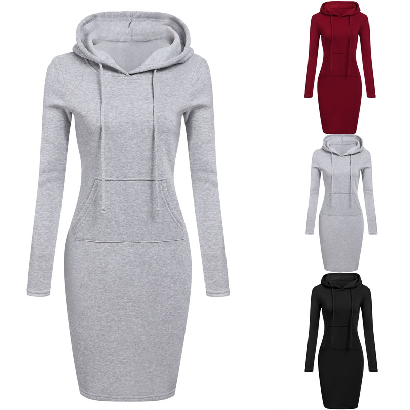 HTB1OE4RXa5s3KVjSZFNq6AD3FXan High Quality 2019 New Hot Sale Fashion Women's Casual Style Hooded Hoodie Long Sleeve Sweater Pocket Bodycon Tunic Dress Top