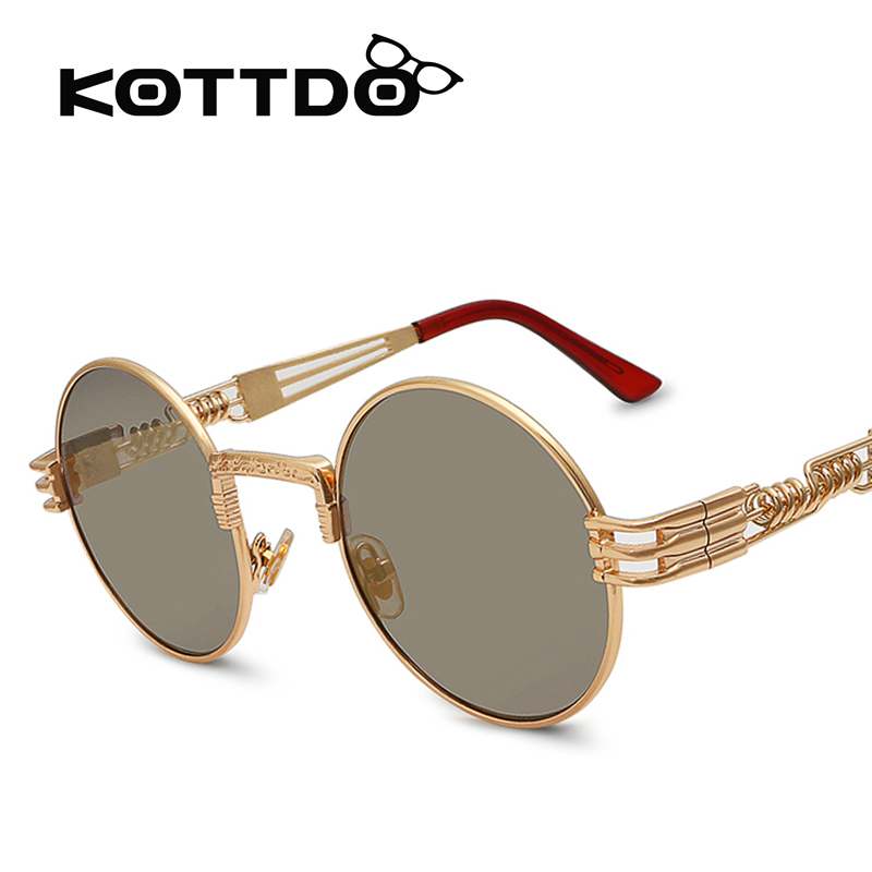 kottdo 2016 men sunglasses luxury round lens steampunk glasses driving aviator sun glasses. Black Bedroom Furniture Sets. Home Design Ideas