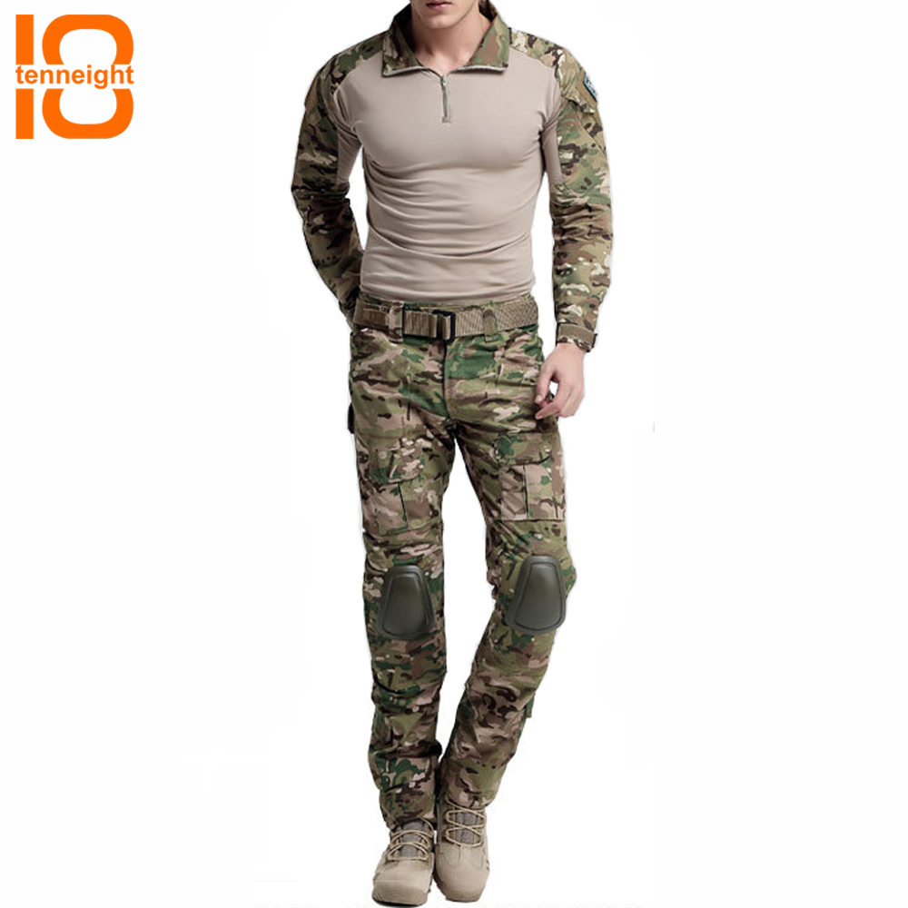 TENNEIGHT Outdoors tactical Suits army combat BDU uniform gen 3 shirt with elbow pads and pants with knee pads camouflage suit kryptek mandrake frog fighting suit police frog uniforms army trainning uniform set one long sleeve shirt and one tactical pant