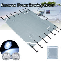 Waterproof Oxford Fabric Caravan Front Towing Cover Protector Universal with Free LED Guard Lights RV Vehicle Accessories