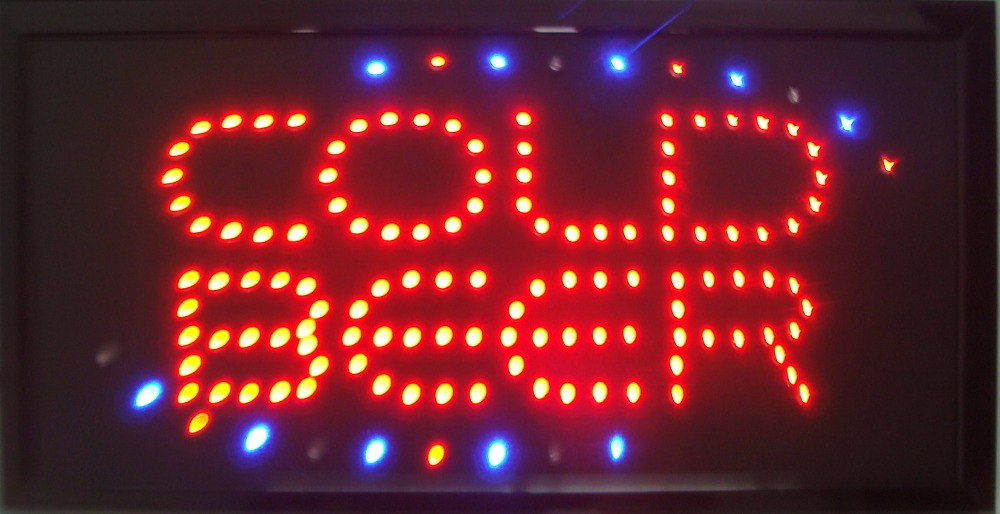 2017 cold beer bar sign hot sale customed 10x19 inch semi-outdoor Ultra Bright flashing led bar sign
