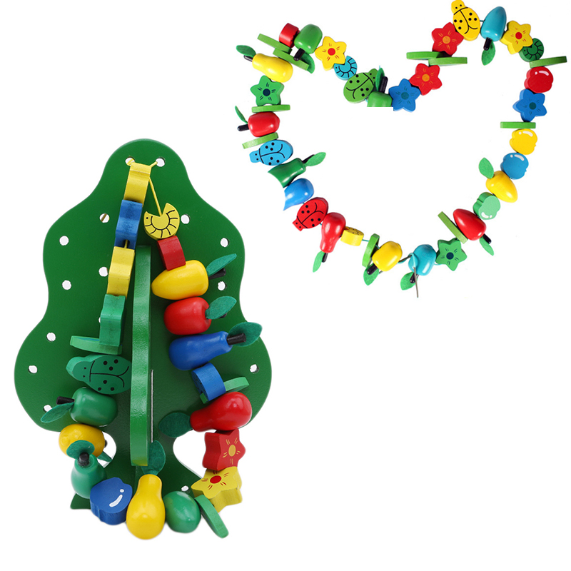 Arts & Crafts, Diy Toys Craft Toys New Parenting Wooden Puzzle Thread Around Beads Fruit Tree Fun Funny Gadgets Novelty Interesting Toys For Children Birthday Gift