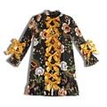 Плюс Размер XXXL 2017 Trend Женщины Взлетно-Посадочной Полосы Знаменитости С Длинным Рукавом Цветок Печатных Лук Тонкий Прямой Dress Vintage Vestido Платья