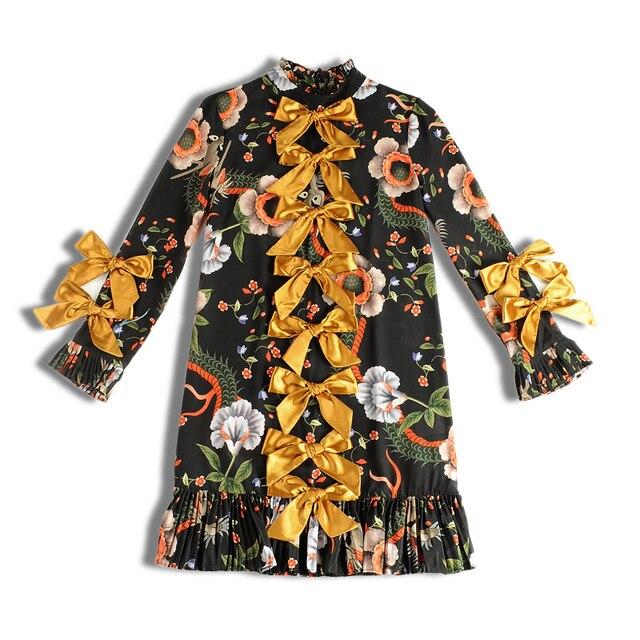 Plus Size XXXL 2017 Trend Women Runway Celebrity Long Sleeve Flower Printed Bow Slim Straight Dress Vintage Vestido Dresses