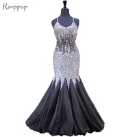 Long Evening Dress 2017 Luxurious Mermaid Spaghetti Strap Crystals Beaded Backless New Arrival Women Formal Evening