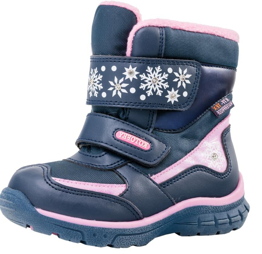 Image 2 - Baby Girls Snow Boots Fashion Top Quality Genuine Leather Toddler Shoes With Wool Waterproof  For Winter   30 Degrees Size 22 25-in Boots from Mother & Kids