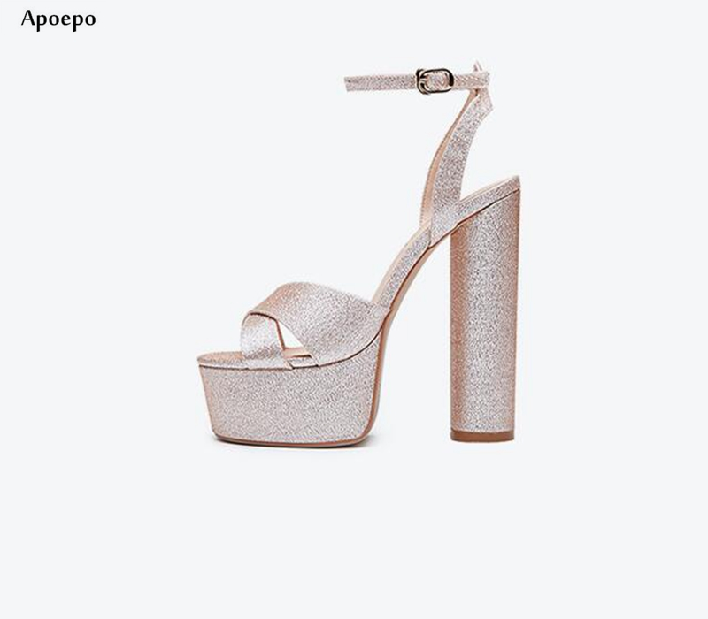 New Gold Glitter Embellished High Heel Sandal for Woman 2018 Sexy Open Toe Ankle Strap Shoes 15cm Thick Heels Summer Shoe new fashion big pearls beaded woman flat shoes 2017 sexy open toe sandal crystal embellished slides