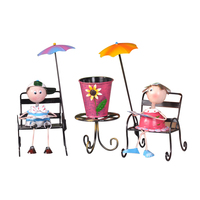 Handmade Painted Lovely Large Kit Beach Tin Doll Suit Creative Home Decorations Ornaments Metal Crafts Wedding Gifts