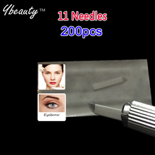 High quality Permanent Makeup Blades 11 Needles for Manual Eyebrow Tattoo Pen for Tattoo Neeldes Free Shipping