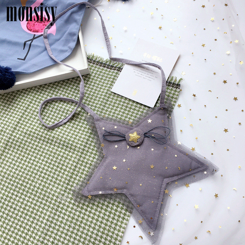 Monsisy Lolita Girl Lace Star Coin Purse Childrens Wallet Small Change Purse Kid Money Bag Coin Pouch Cute Cotton Baby Handbag
