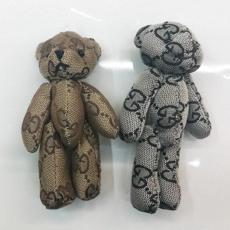 50PCS Lot Mini Joint Bear With Lace Stuffed Plush Toys 13cm Cute Teddy Bears Pendant Dolls