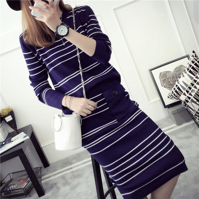 2016 New Arrival Women's Autumn Clothes Knitting Striped Pullover Top And Elastic Skirt Set Female Casual Suits 3 Colors In
