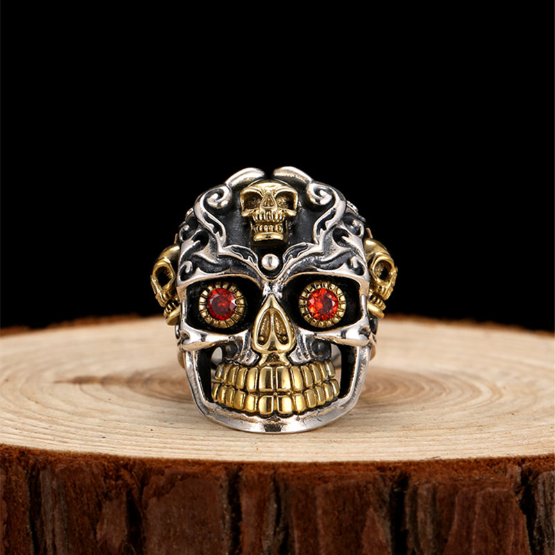 цена на Sterling Silver Sugar Skull Rings For Men 26g Solid Handcrafted Silver 925 Chunky Mens Ring Gothic Thick Band Male Jewelry Gifts
