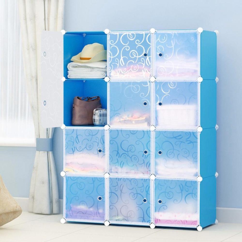 12 Grids Simple Resin Storage Box Cabinet DIY Extra Large Eco-Friendly Wardrobe Closet Organizer Clothes Holder Toiletry Kits
