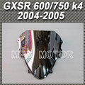 Motorcycle Part Double Bubble Windshield/Windscreen - Silver For Suzuki GSXR 600/750 K4 2004 2005 04 05