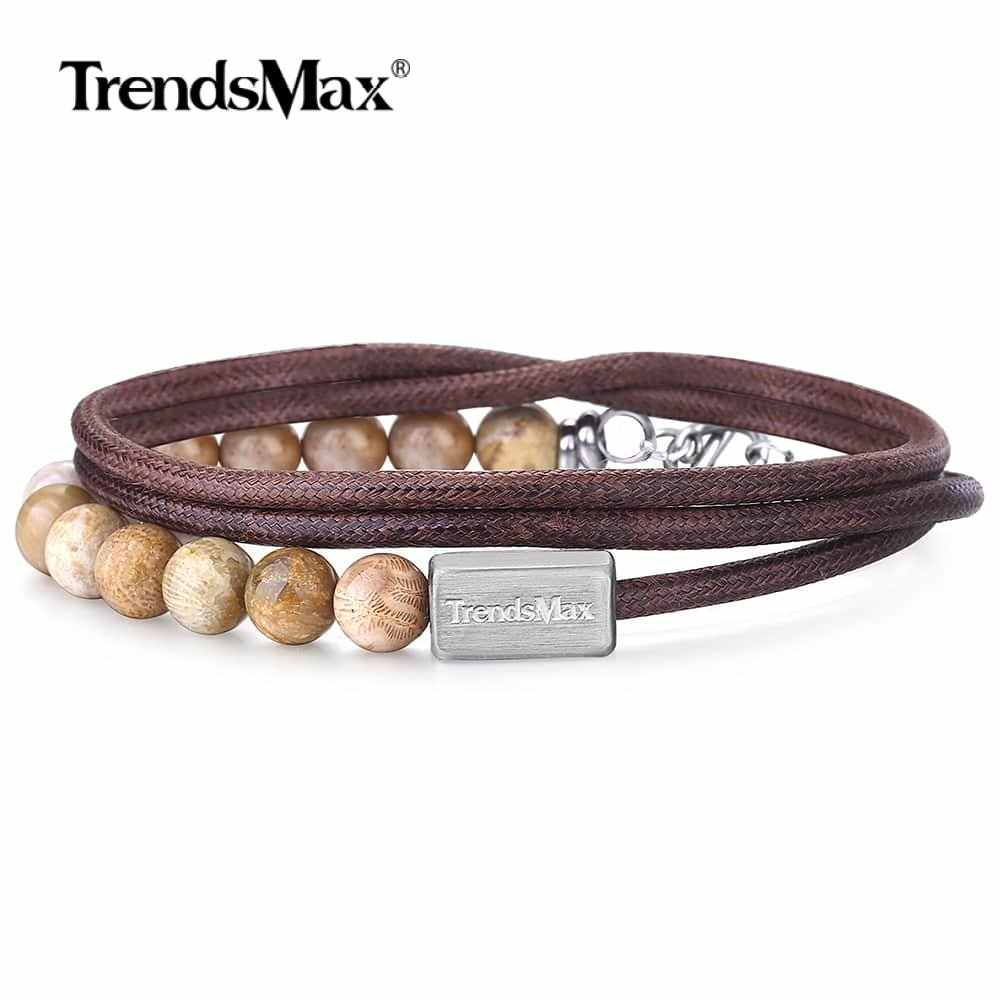 Natural Chrysanthemum Stone Man-made Leather Bracelets Multi Layer Leather Wristband Stainless Steel Chain for Mens TBX00501