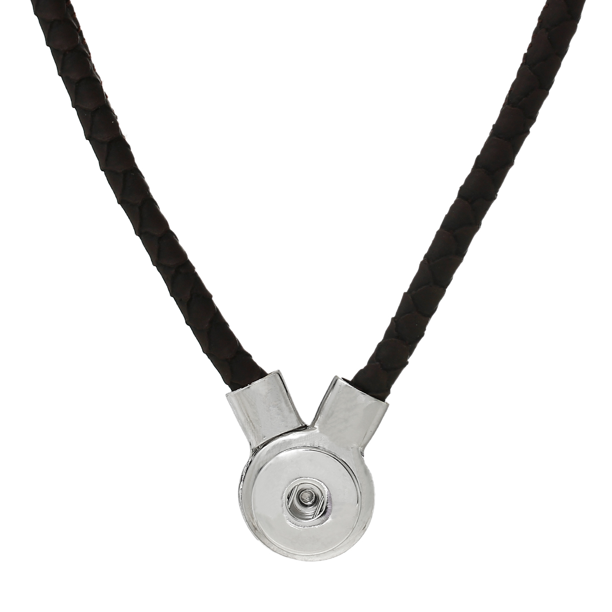 "8SEASONS PU Fashion Snap Jewelry Necklace Coffee Silver Tone 50cm x2.3cm(<font><b>19</b></font> 5/<font><b>8</b></font>"" <font><b>x</b></font> <font><b>7</b></font>/<font><b>8</b></font>""),Snap Charm Hole Size: 6mm,<font><b>1</b></font> PC"