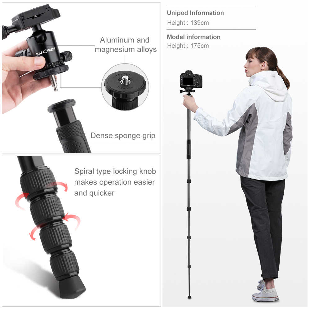 """K & F концепция 60 """"Профессиональная Алюминиевая DSLR видеокамера штатив монопод 5 секций поперечная центральная колонка для Canon sony Nikon"""
