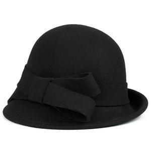 Image 3 - 2017 Yeni Kış sıcaklık Moda Yay Fedora Lady Şapka Kubbe zarif Bayanlar Için Kadınlar Için Yün Topper Ilmek Şapka Kışlar kadınlar