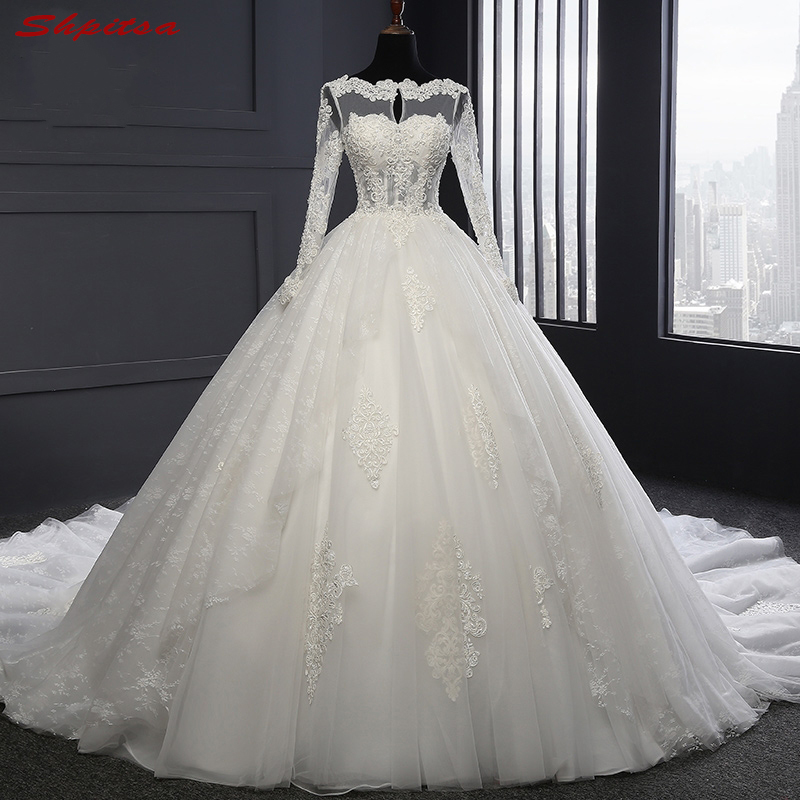 Long Sleeve Lace Wedding Dresses Ball Gown Pearls Tulle Wedding Gowns Weding Bridal Bride Dresses Weddingdress Vestido De Noiva